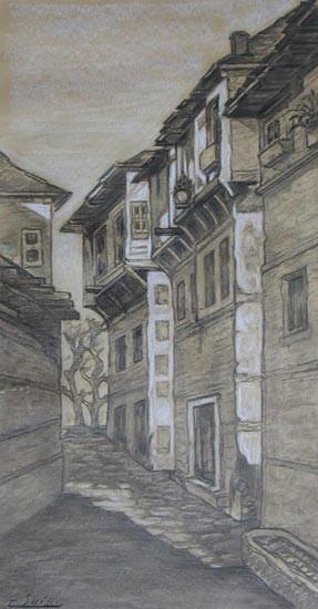 """Gaston-Suisse-1896-1988-""""Ruie-de-village-en-Mаcedoine""""-woodcut-1916-""""Rue-de-Salonique""""-crayon."""