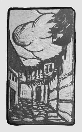 """Gaston-Suisse-1896-1988-""""Ruie-de-village-en-Mаcedoine""""-woodcut-1916-""""Rue-de-Salonique""""-crayon"""