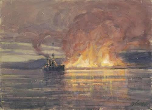 Geoffrey S. Allfree (1889 -1918), Evacuation from Salonika, 1915, watercolor
