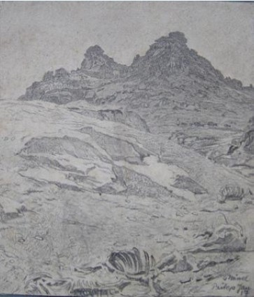 Georg Hänel 1879-1945 Landscape near Prilep 1917 pencil drawing
