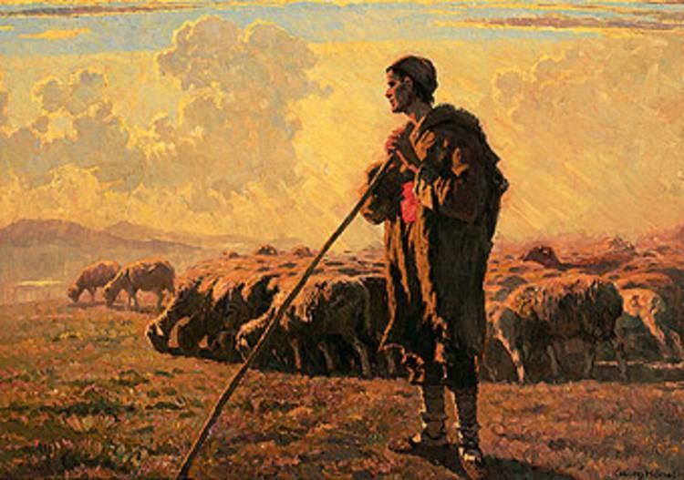 Georg Hänel 1879-1945 Macedonian Shepherd with the flock