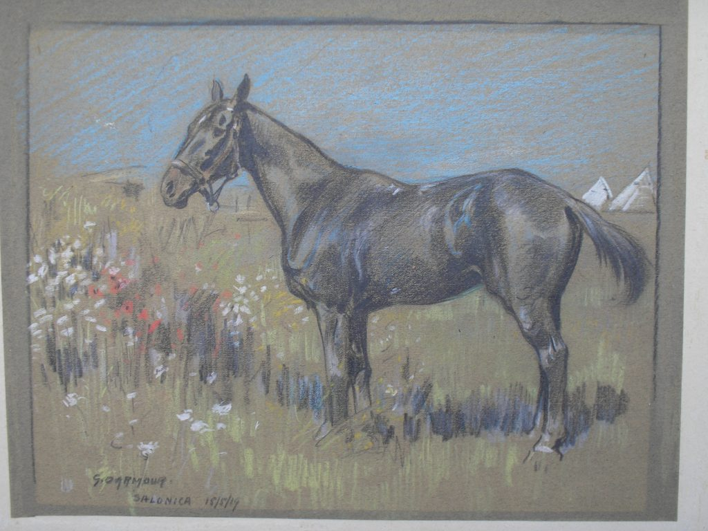 George Denholm Armour (1884 -1949), Horse and army camp, Salonica 1919, pastel