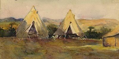 George Sapper Bain (1881 -1968), Army Camp-Valley, Salonika 1918, watercolors