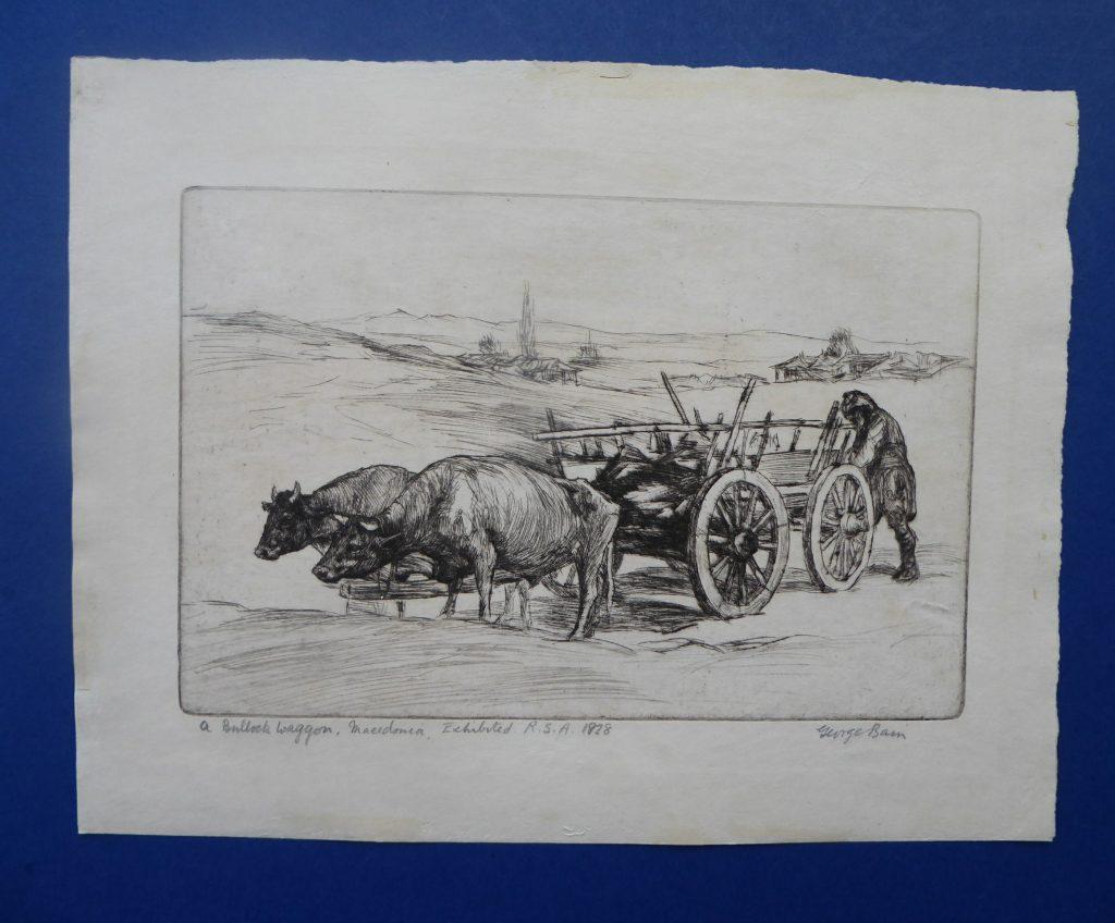 George Sapper Bain (1881 -1968), Bullock car, Macedonia, etching, 1928