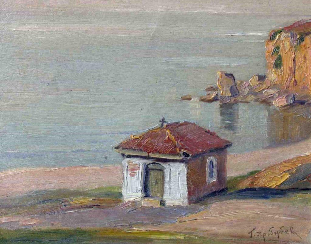 Georgi Hristov Rubev 1894-1975 Ohrid Lake 1942 oil on canvas