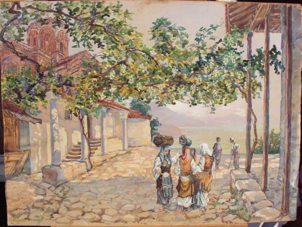 Gotthard Bauer (1887 -1976),Ochrida 1916, gouache-watercolor