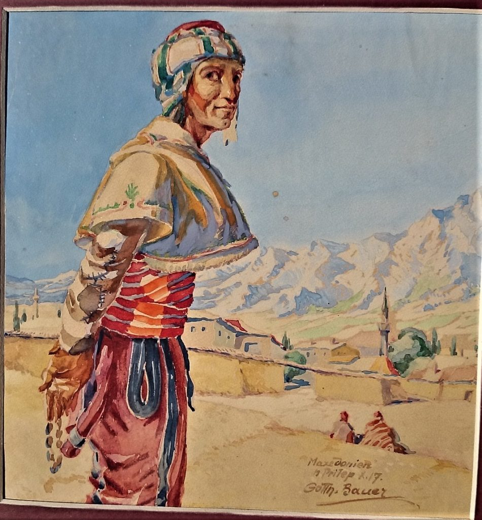 Gotthard Bauer (1887 -1976),Prilep 1917, gouache-watercolor