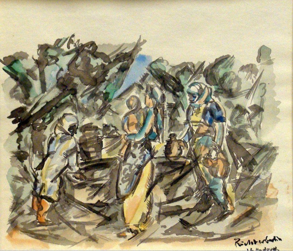 """Heinrich-Richter-Berlin-1884-1981""""Vor-de-Moschee-in-Uskub-1916""""-""""Drei-Mazedonierinnen-am-Brunnen-1916""""-watercolor."""