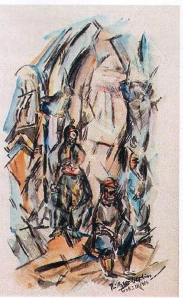 """Heinrich-Richter-Berlin-1884-1981""""Vor-de-Moschee-in-Uskub-1916""""-""""Drei-Mazedonierinnen-am-Brunnen-1916""""-watercolor"""