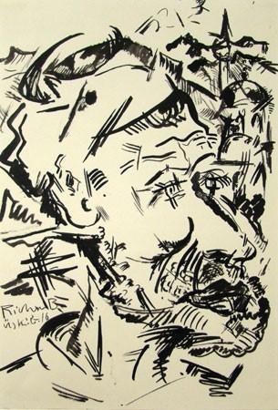 """Heinrich Richter-Berlin (1884-1981)""""Alter Mazedonier, Uskub 1916"""";"""
