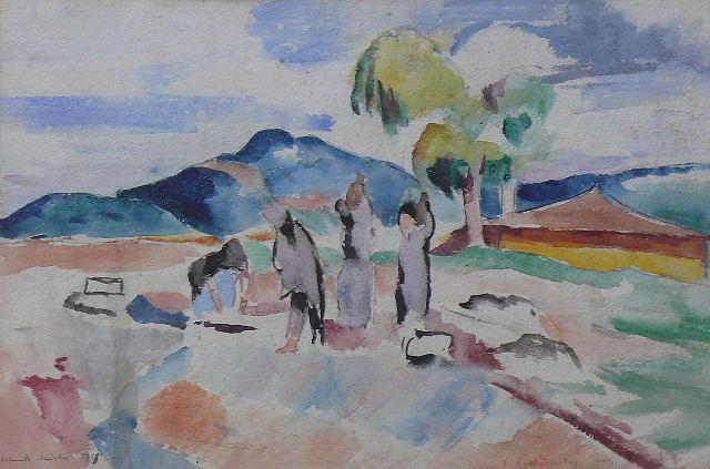 Helmuth Macke (1891 – 1936) Macedonian Landscape near Dojran Lake 1918, watercolor