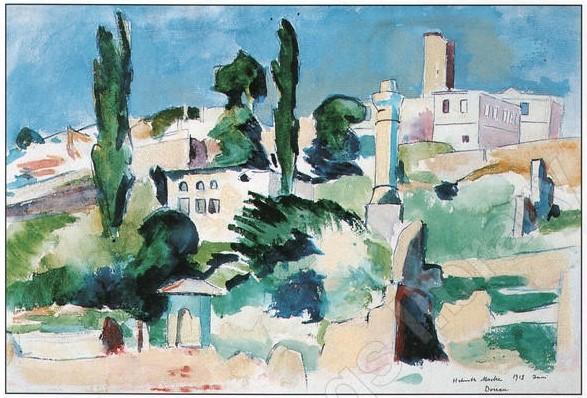 Helmuth-Macke-1891-–-1936-Macedonian-Landscape-near-Dojran-coast-1918-watercolor