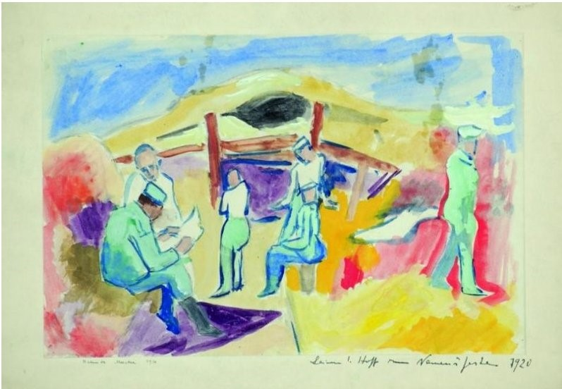 Helmuth-Macke-1891-–-1936-Soldiers-in-trench-Dojran-Front-1916-watercolor