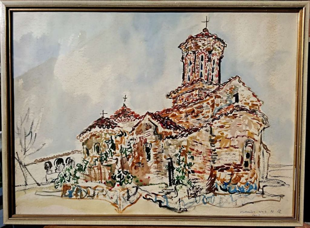 Helmuth Weitz (1918-1966) Ohrid St Naum church 1958 watercolor