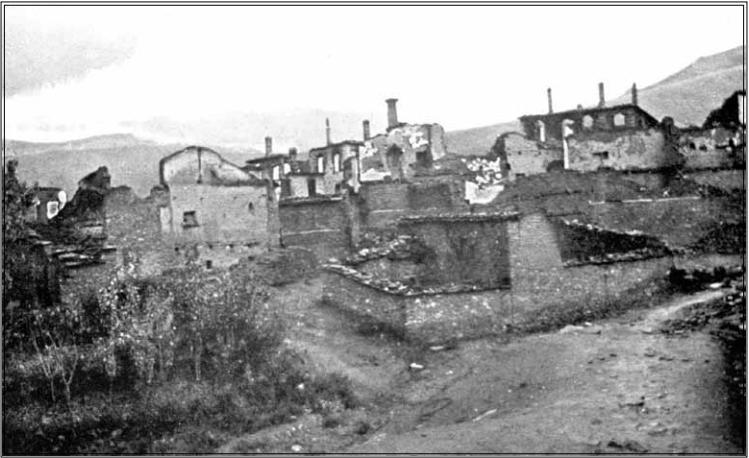 уништеното село Загоричани после илинденското востание, 1904, фотографија
