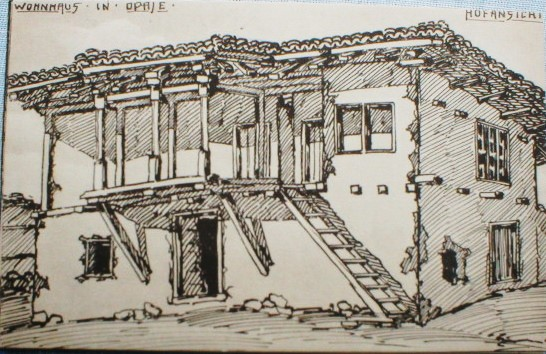 Herman Thielen 1867-1930 House in Opaje Front view ink drawing