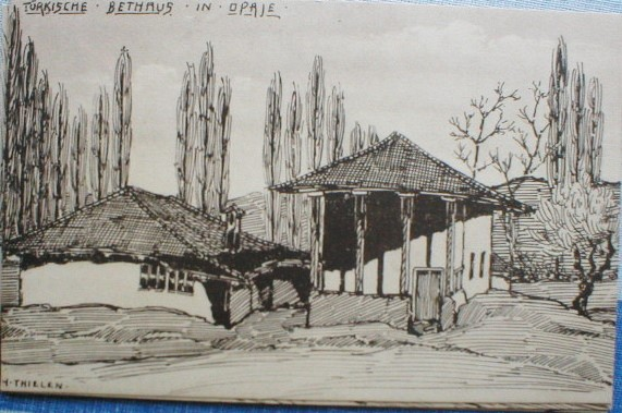 Herman Thielen 1867-1930 Turkish bet house in Opaje ink drawing