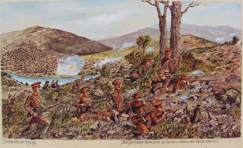 Српски фронт – Бугарските трупи го ослободуваат Велес, акварел