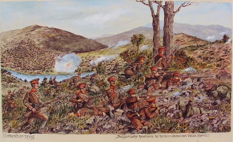 Hermann-Sattler1892-1945Bulgarian-troups-liberating-Veles-1917-watercolor