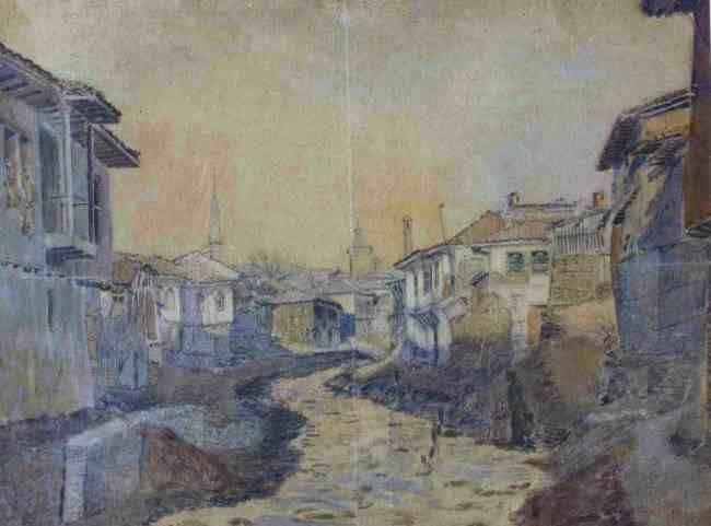 Ivan-Ivanov-Ivanic-1879-1966Old-Street-Macedonia-1915-watercolor