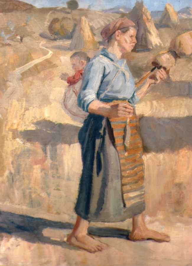 Ivan-Petrov-1909–-1991Macedonian-Harvester-Woman-oil-on-canvas