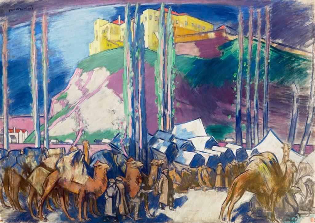Караван со камили во Скопје 1916, масло на платно
