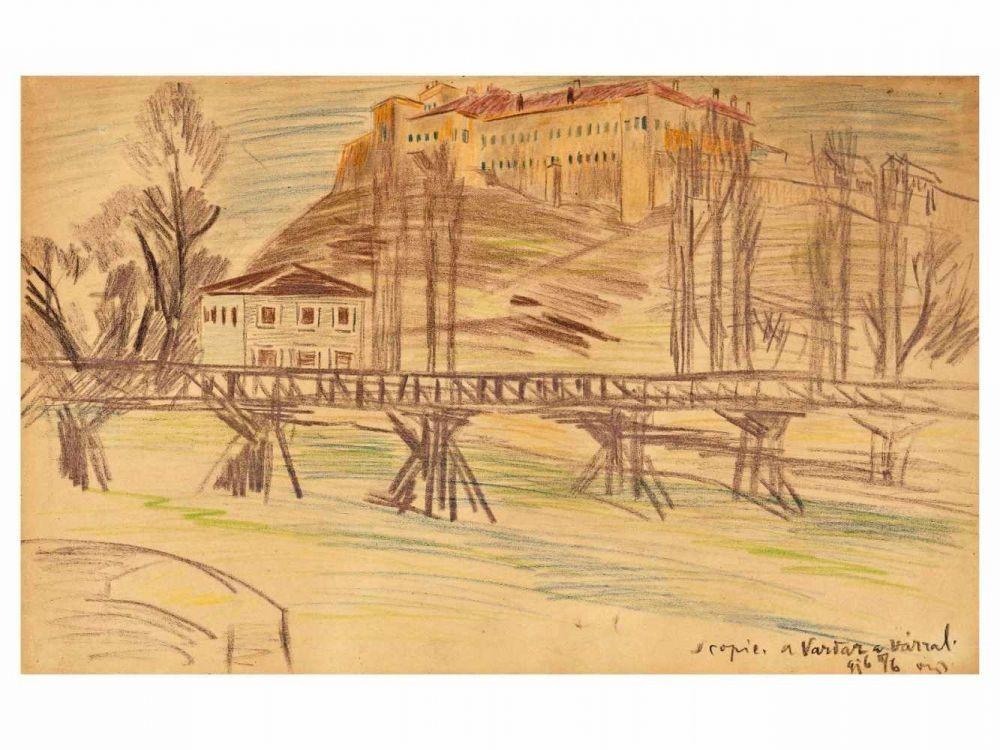 Скопје мост на Вардар 1916, цртеж