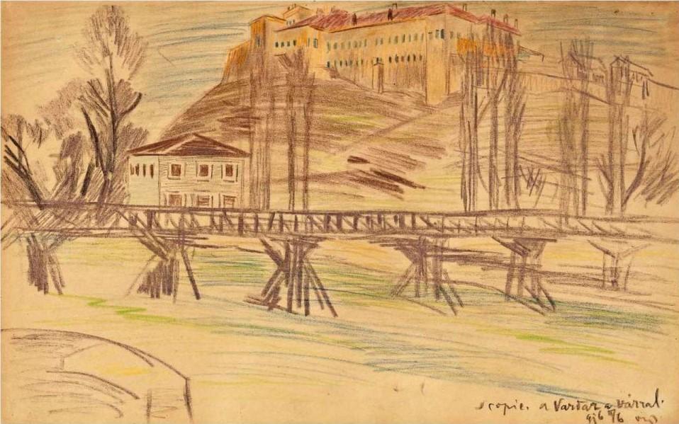 "János Vaszary (Kaposvár, 1867 – Budapest, 1939), ""Скопје, Вардар со замок 916 II / 6"", пастел"