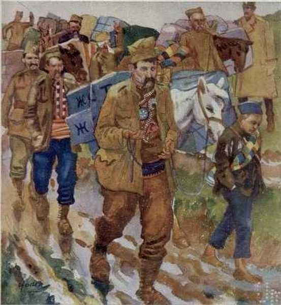 Колона носи муниција, Скопје 1915