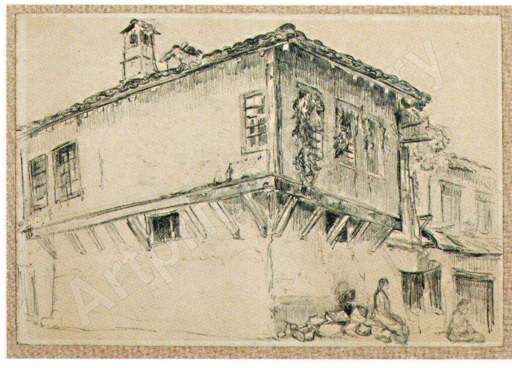 Jean-Goulden-1878-1946-Maison-a-encorbellement-en-Macédoine-1917-drawing