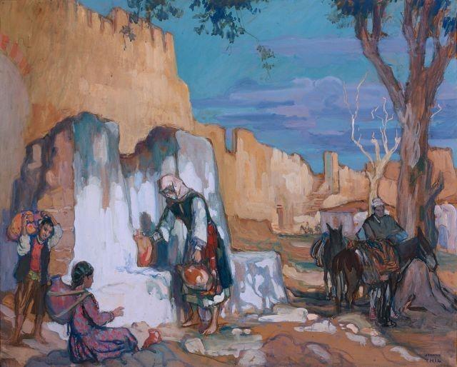 Jeanne Thil 1887- 1968 Fontaine a Yéni Koulé Salonique gouache