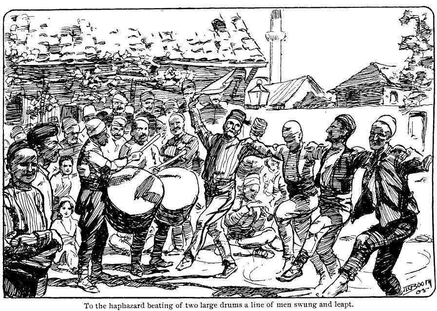 """John Booth (XIX-XX) Drum dance in Kumanovo , illustration from the """"Troubles in the Balkans"""""""