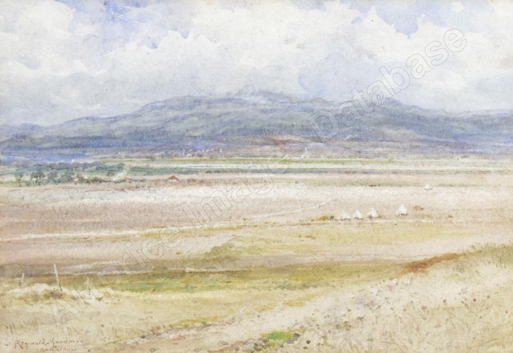 John Reginald Goodman 1870-1962 Extensive landscape the Millitary encampment Karasouli Greece