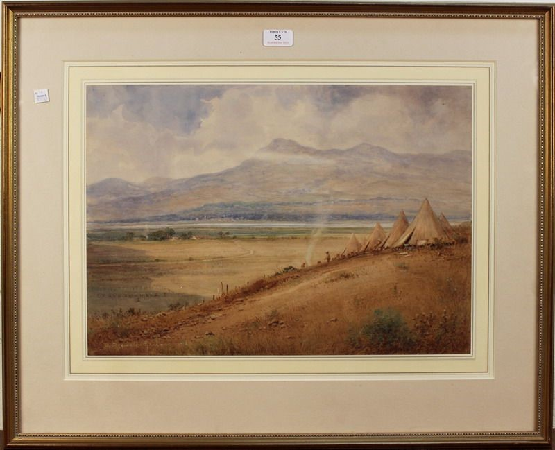 John Reginald Goodman 1870-1962 View of a military camp in the valley to Vardar 1916 watercolor