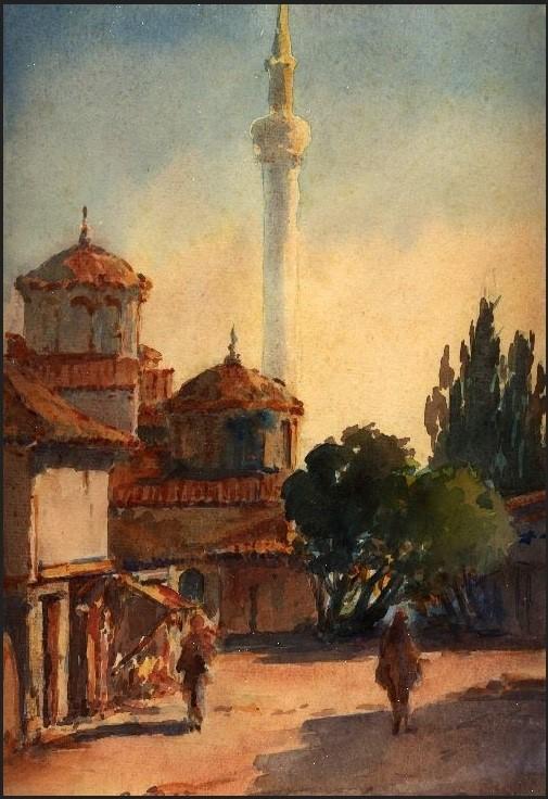 Црква Света Катарина ( поранешна турска џамија) 1917, акварел