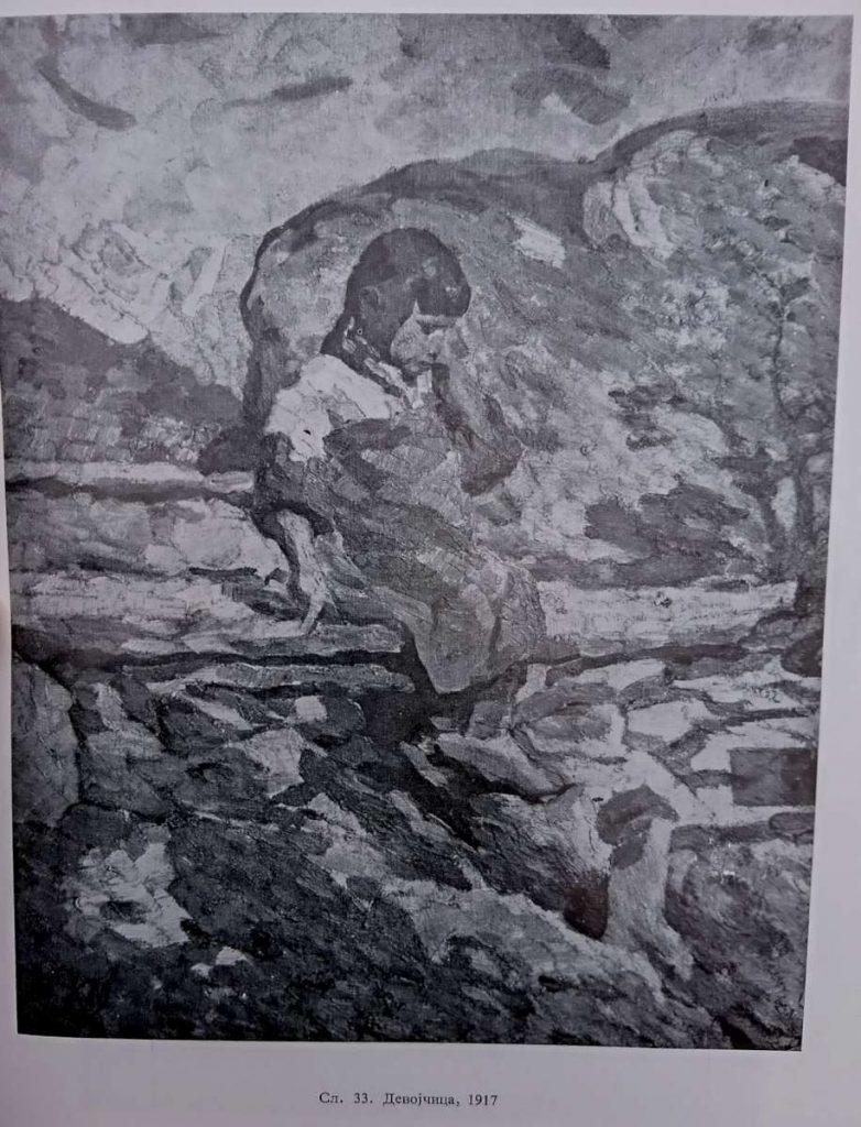 Коста Миличевиќ (1877-1920) Девојче, село Плевна до Солун 1917, масло на платно