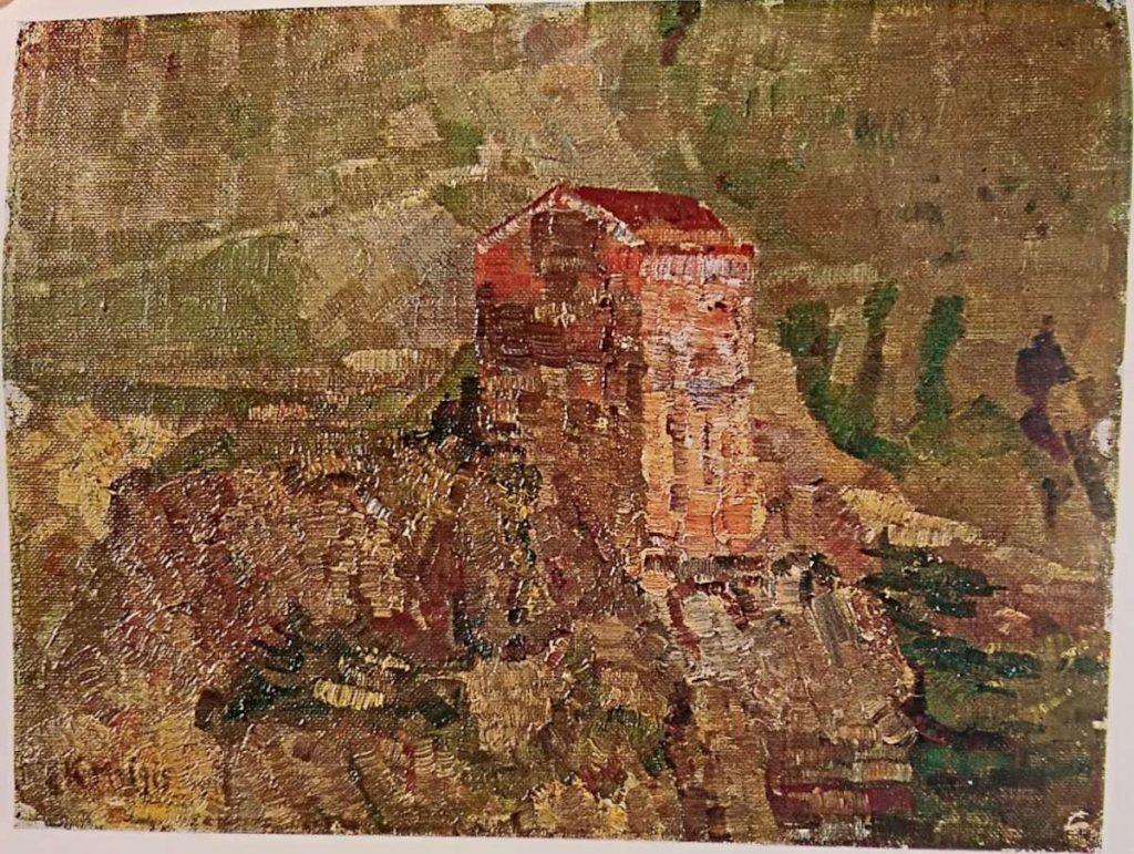 Коста Миличевиќ (1877-1920) Кулата на крчмарката Јања, Велес 1915, масло на платно