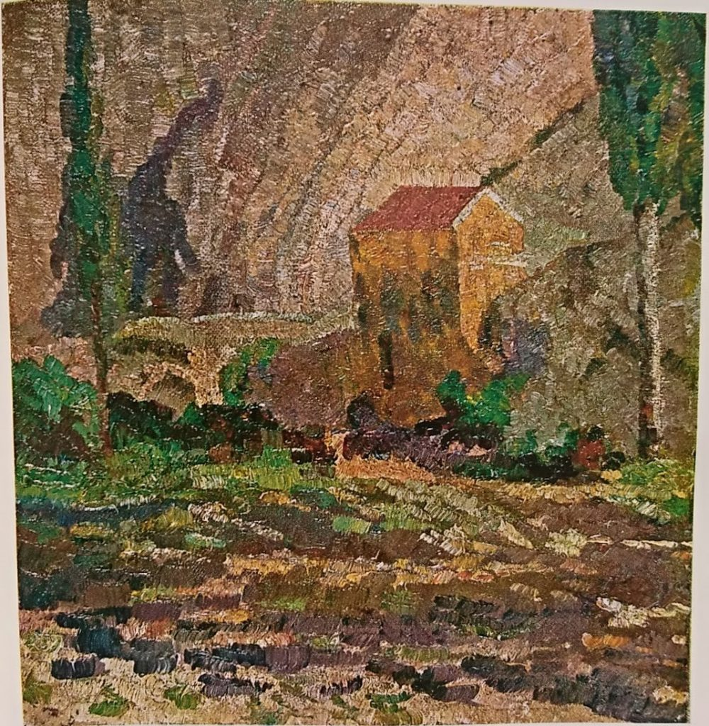 Kosta Miličević (1877 – 1920) Tower of innkeeper Janja with poplar trees , Veles 1915, oil on canvas