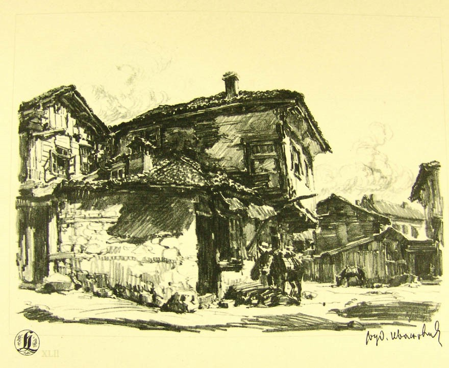 Ljubomir Ivanovic 1882-1945 In front of a bakery in Struga 1937 drawing