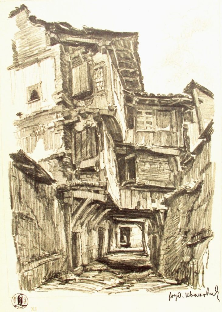 Ljubomir Ivanovic 1882-1945 Ohrid 1937 drawing