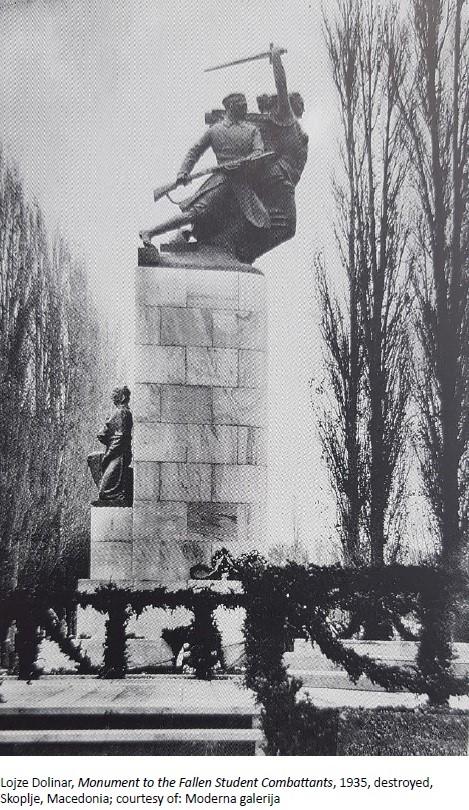 Споменик на паднатите студенти-војници, Скопје 1935, бронза и мермер