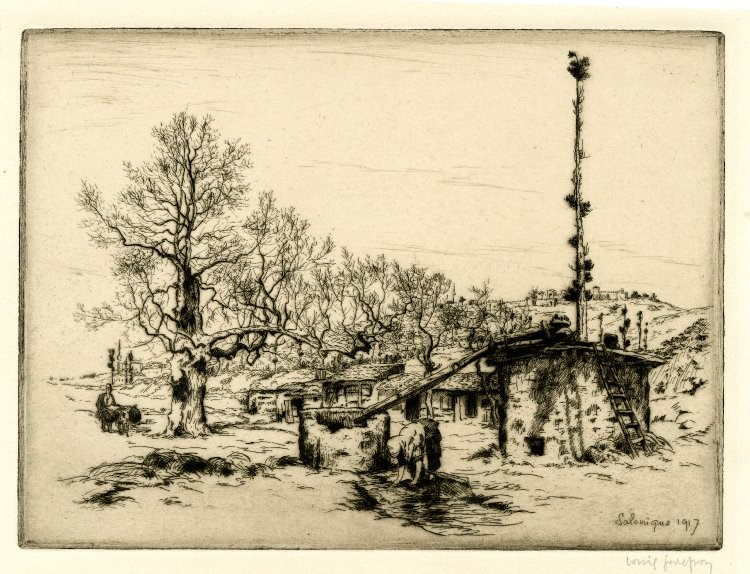 Louis Godefroy 1885-1934 La fontaine des ziganes Salonique-1917