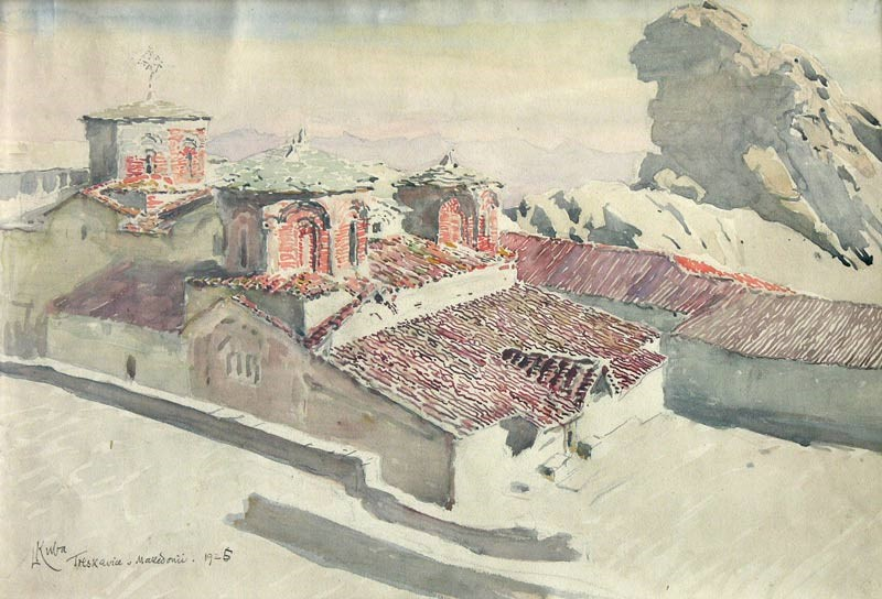 Манастир Трескавец, 1925, акварел