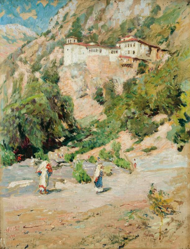 Ludvik Kuba (1863-1956) Monastery Sv. Petka , Ohird oil on canvas