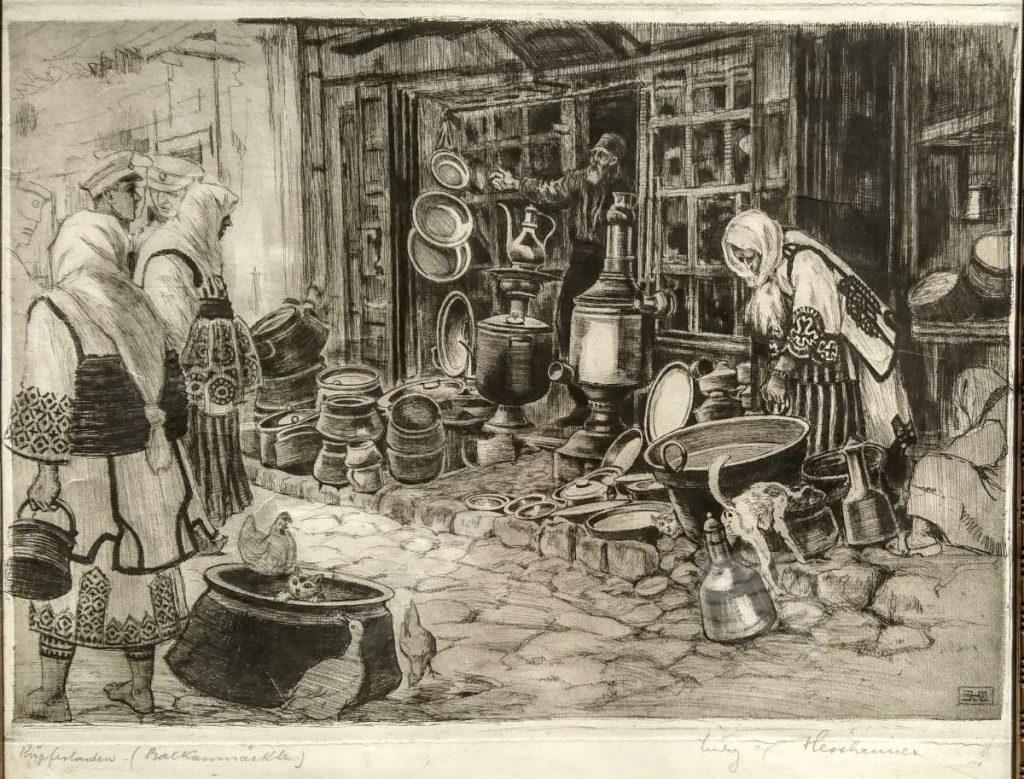 Ludwig-Hesshaimer 1872-1956 Copper seller etching