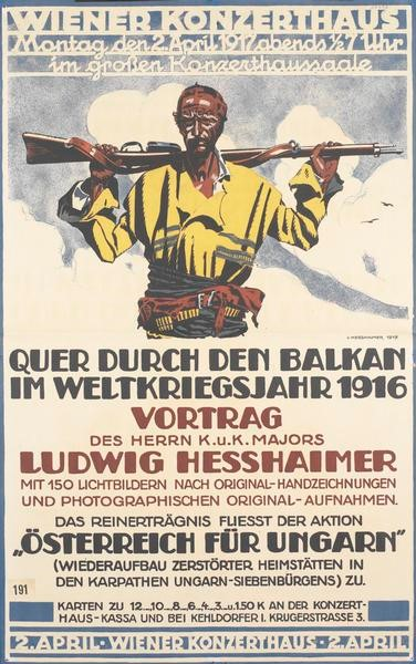 Ludwig Hesshaimer 1872-1956 Hand painted poster for an exhibition of his Balkan works of art 1917