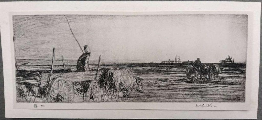 Malcolm-Osborne-1880-1963-Trekker-of-the-plain-near-Dojran-1917-etching