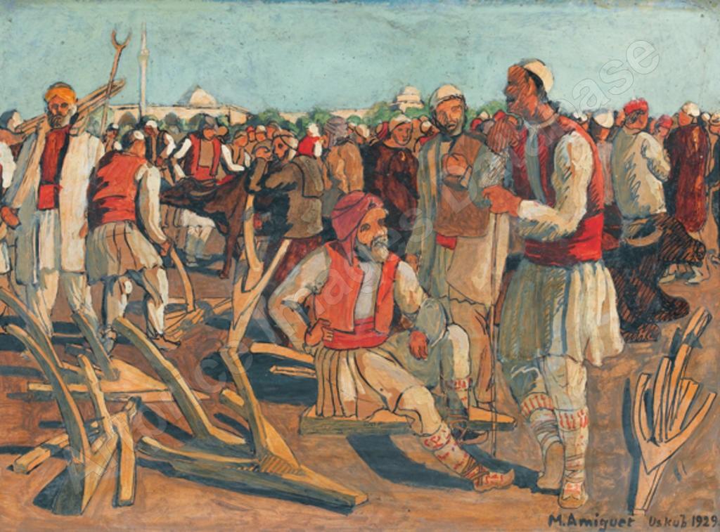 Македонски Пазар со селани пред џамија, 1929 , масло на платно
