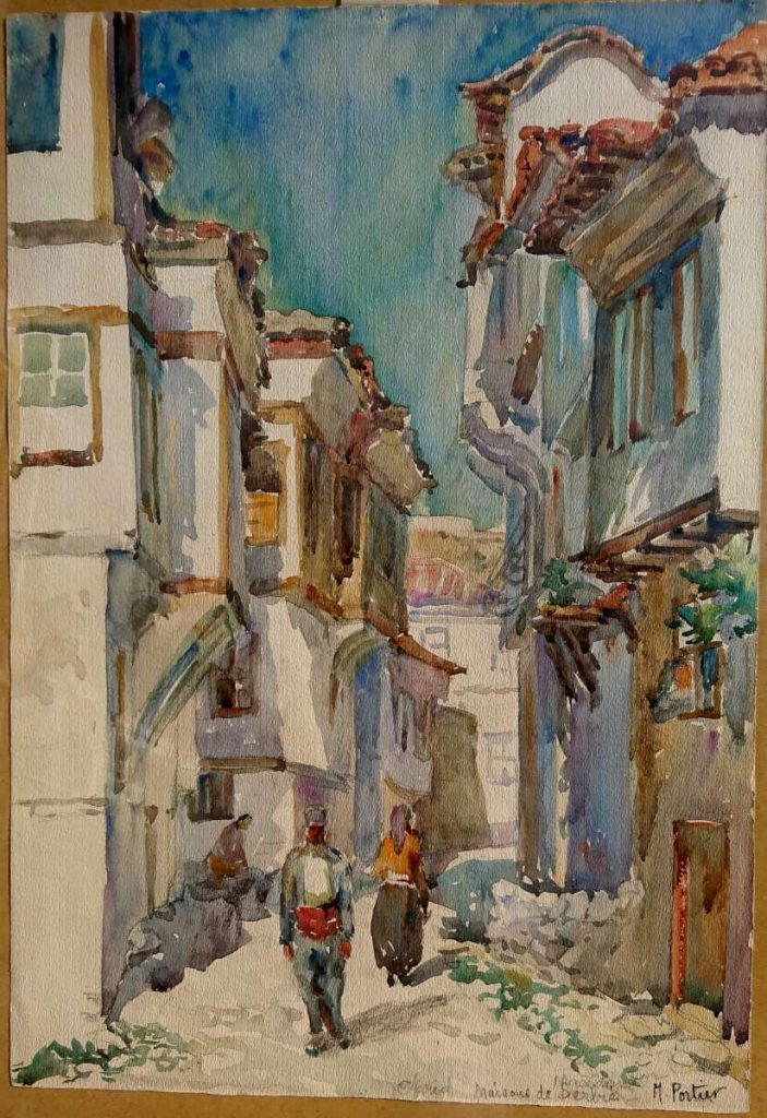 Marguerite Portier 1893-1992 Ochrida maison de Serbе watercolor