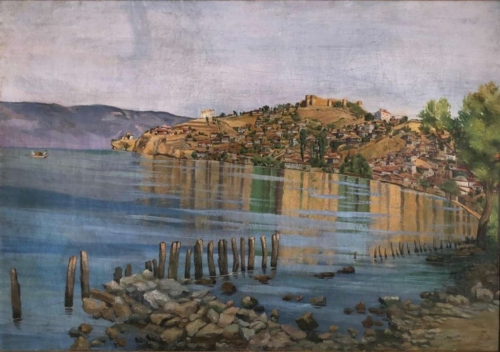 Milica Milić Milivojević (1889-1963) Landscape in Ohrid 1920, oil on canvas